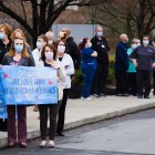 Members of the community gathered at Cayuga Medical Center on Wednesday, April 8, in a send off for health workers heading to New York Presbyterian Hospital to support COVID-19 efforts in New York City.