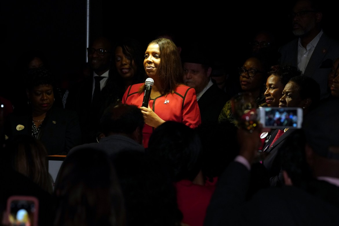 Attorney General Letitia James is photographed above during her campaign in November 2018.