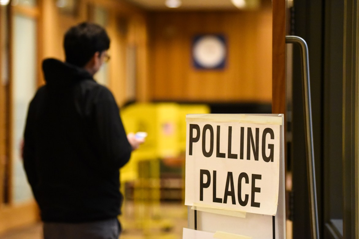 A voter heads to a polling location inside Alice Cook House in 2018's midterm elections. On Tuesday, a federal judge ordered that New York must hold a June 23 presidential primary –– the state Board of Elections had cancelled it on April 27.