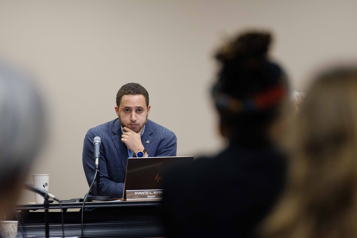 Mayor Svante Myrick '09 discussed covering residents' rent during a May 6 Common Council meeting.