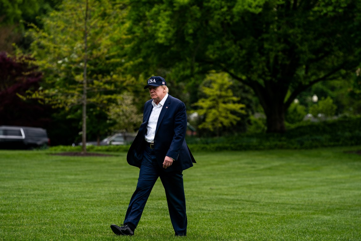 President Donald Trump walks away from Marine One at the White House in Washington, May 3, 2020. Trump did not welcome a video by former President George W. Bush appealing for national solidarity in the face of a pandemic, and he made clear that such unity was not on his agenda. (Anna Moneymaker/The New York Times)