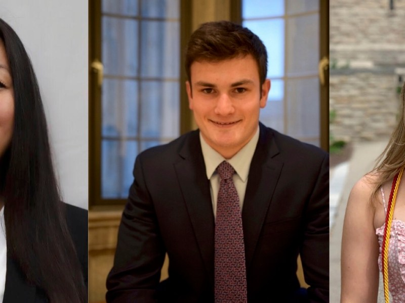 From left to right: Jessie Liu '20, Lucas Goldman '20, and Carly Arfman '20
