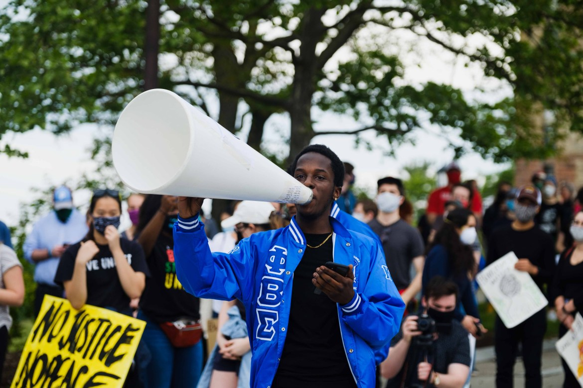 Cornellians and the greater Ithaca community join the nation in protest against racist police brutality in a march from Ho Plaza to the Ithaca Police Office on Wednesday, June 3.
