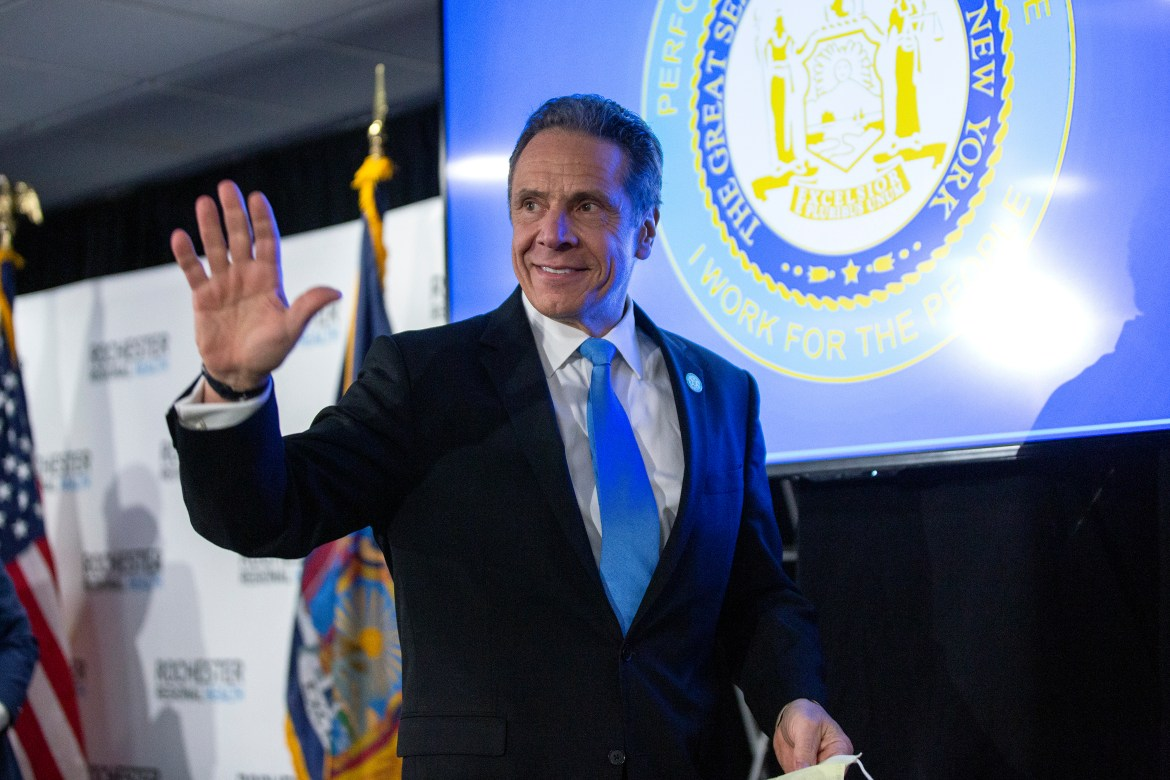New York Gov. Andrew Cuomo departs a news conference in Irondequoit, New York on May 11. The New York governor announced that the Southern Tier region can enter phase three of reopening at a June 8 press conference.