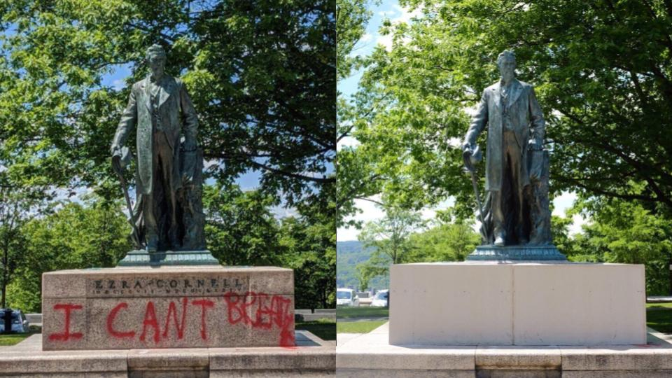 """At 12:51 p.m., Ezra Cornell stood on the Arts Quad with the words """"I can't breathe"""" spray painted at the base. By 2:10 p.m., the words were covered. The covering also obscured Cornell's name."""