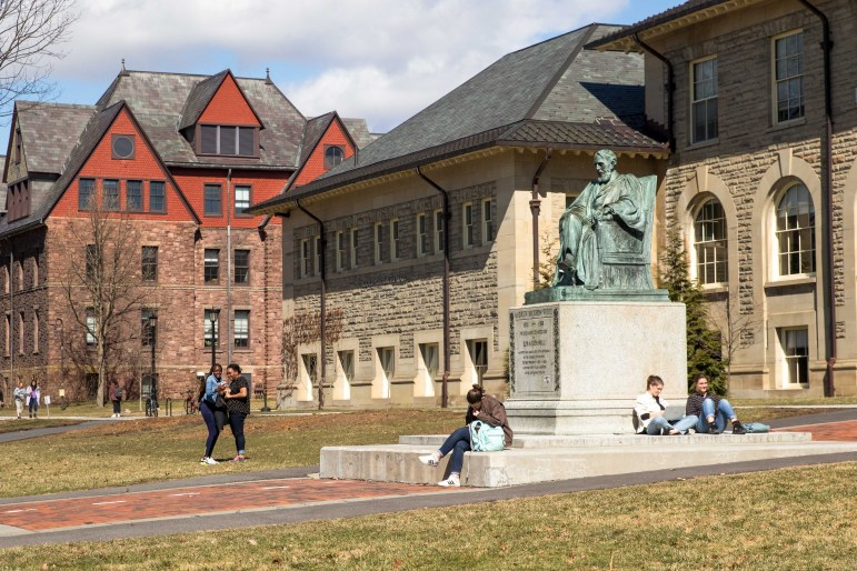 The Arts Quad on March 13, 2020. Administrators explain in a town hall Friday why Cornell unexpectedly reversed its decision to provide quarantine accommodations for students.