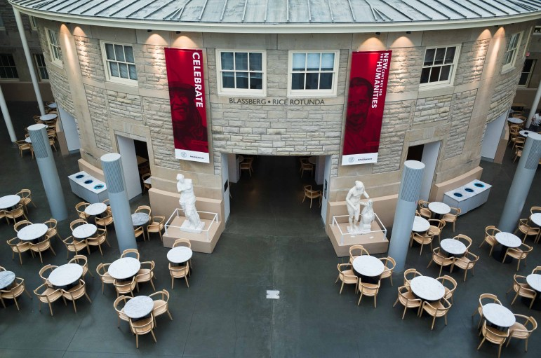 In May, the usually-crowded tables of Temple of Zeus lay empty following the closure of most on-campus activities.