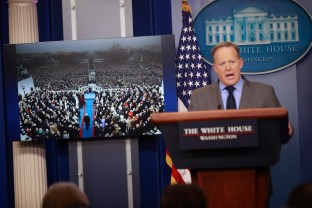 White House press secretary Sean Spicer during a briefing at the White House, Jan. 21, 2017. President Donald Trump and his press secretary excoriated the news media for what they said were deliberate efforts to understate the number of people at the inauguration.