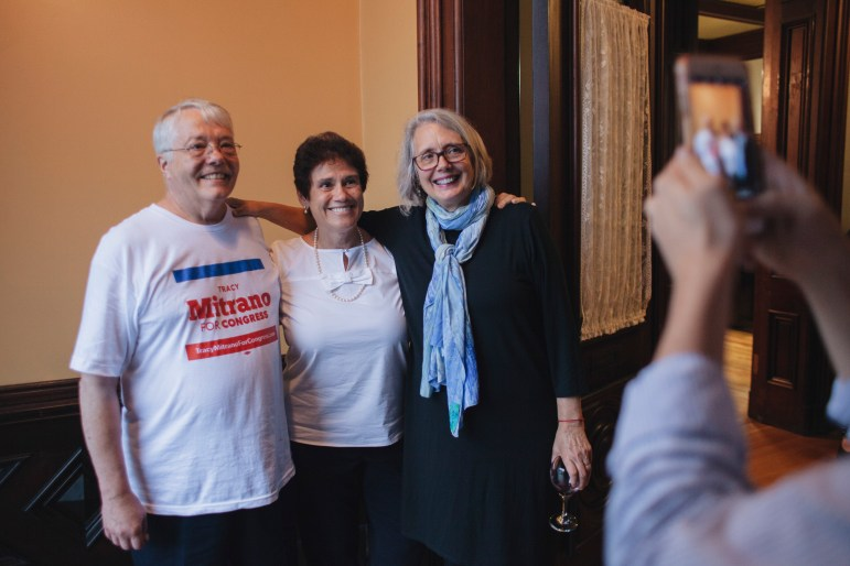 Tracy Mitrano, center, before a fundraiser in Elmira, N.Y., Oct. 2, 2018 during her first run for Congress.