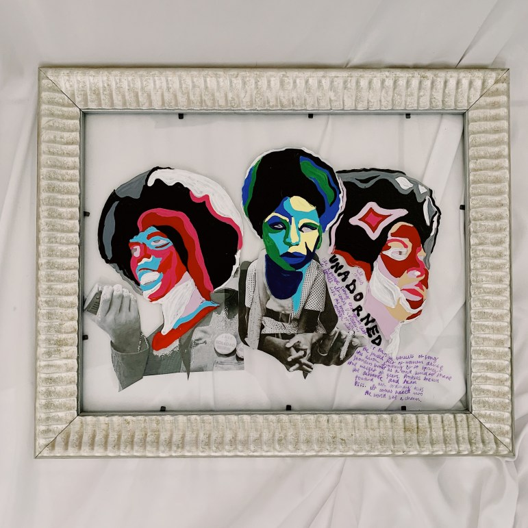 """""""It Comes Unadorned"""" by Isabel Padilla, acrylic paint, paper, glitter glue, sharpie on glass"""