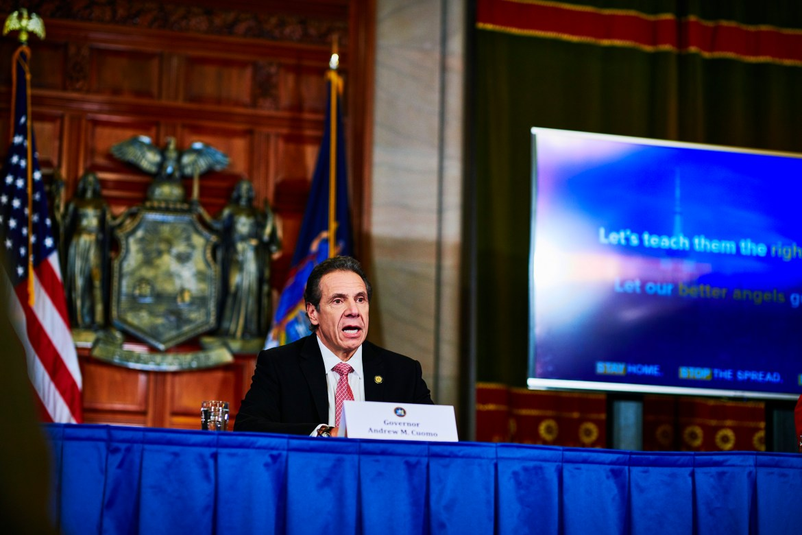 Gov. Andrew Cuomo during a news conference about the coronavirus, in  March.