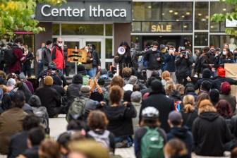 Back the Blue and Black Lives Matter rallies at the Ithaca Commons on Oct. 24, 2020.