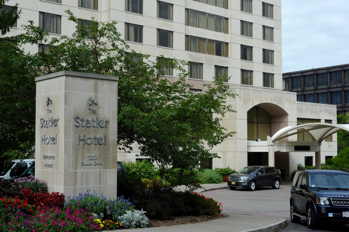 Students living on campus who test positive for the coronavirus can isolate at the Statler Hotel.