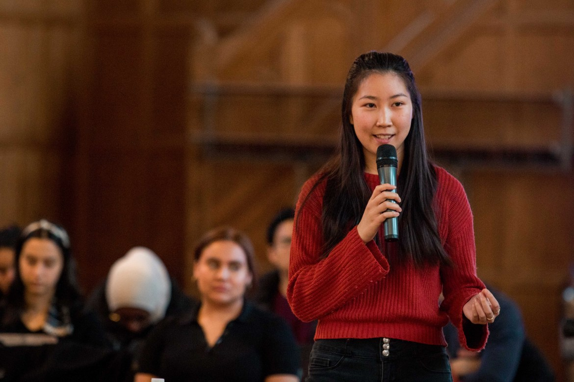 Among the newly-sworn in S.A. member is President Cat Huang '21.