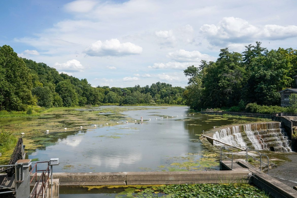 Beebe Lake glistens on a cloudy day. The Campus Sustainability Office 2020 report shows slashed carbon emissions.