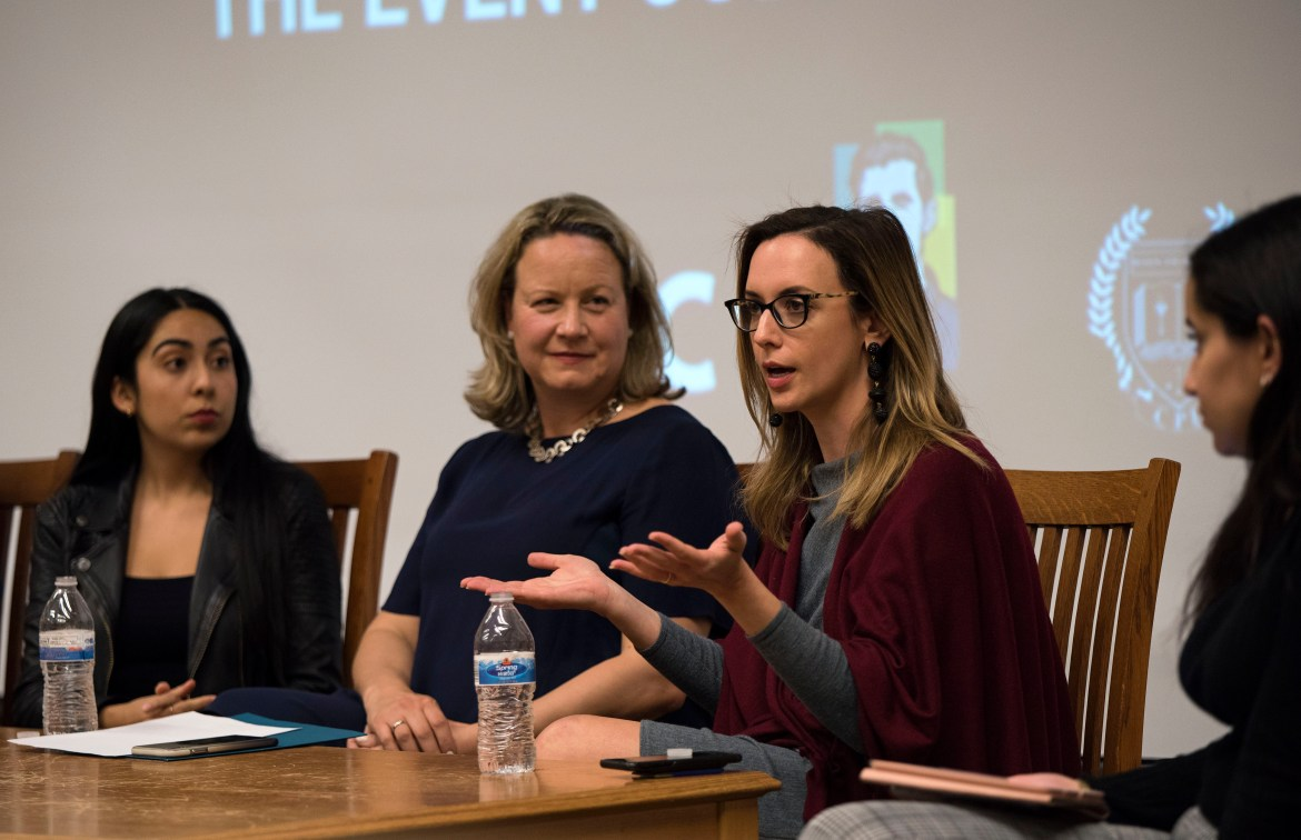 Leslie Danks Burke participates in a women's issue panel at Cornell in 2019.