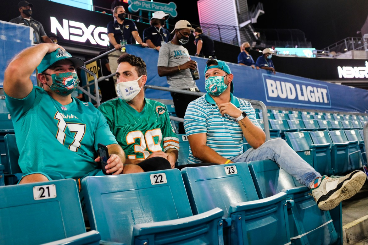 The Miami Dolphins are drawing sold-out crowds of 13,000 to home games this fall.