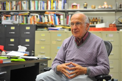 Prof. Roald Hoffmann in his office in 2014. Hoffmann was one of 81 Nobel Laureates to endorse Joe Biden, following his previous endorsements of Democratic candidates including Hillary Clinton, Barack Obama and John Kerry.
