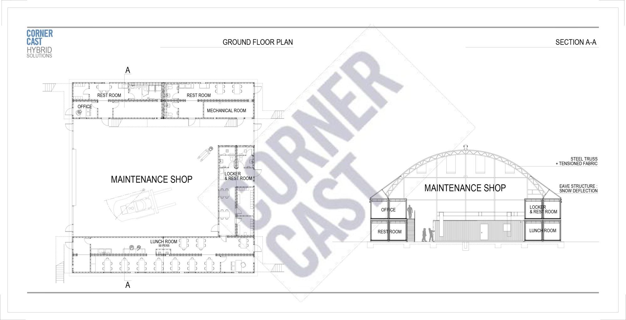 hight resolution of maintenance garage office complex corner cast corner cast diagram