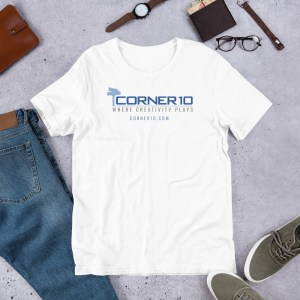 Corner 10 Short-Sleeve Unisex White T-Shirt (Bella + Canvas 3001)