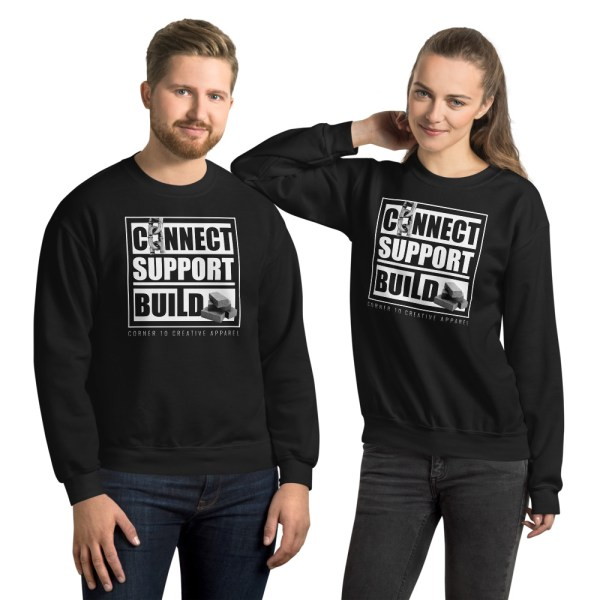 unisex crew neck sweatshirt black front 612ecec3ac85f
