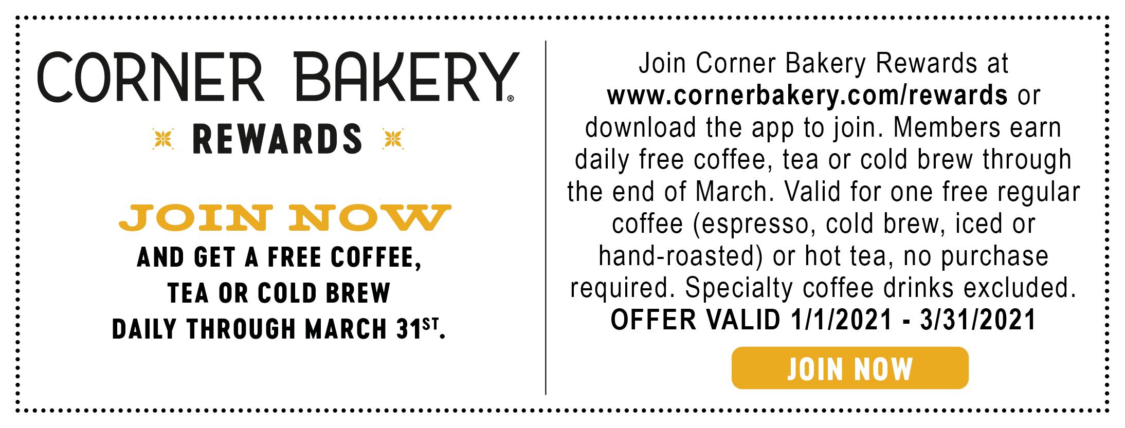 corner bakery cafe free coffee tea