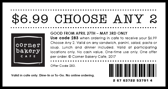 Corner bakery coupon free soup