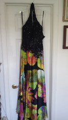 $150 + shipping. Black and floral Jovani gown with slit and stones on the entire gown (color stones added). Size 2. Worn twice for fashion wear and appearance. Won fashion at Galaxy nationals.