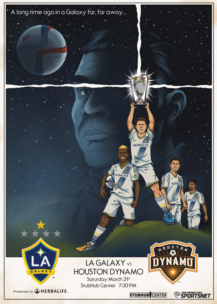 Commemorative match poster for the LA Galaxy vs. Houston Dynamo match