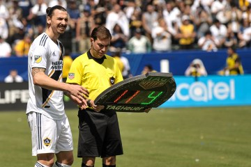 Zlatan Ibrahimovic gets ready to play his first game for the LA Galaxy on March 31, 2018 - Photo by Steve Carrillo