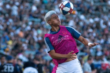 Favio Alvarez heads a ball for the LA Galaxy - Photo by Brittany Campbell