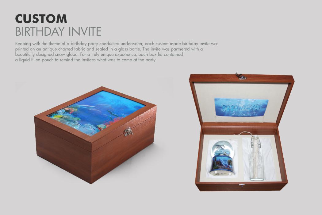 Birthday Invite Custom Box Fabrication by Cornerstone