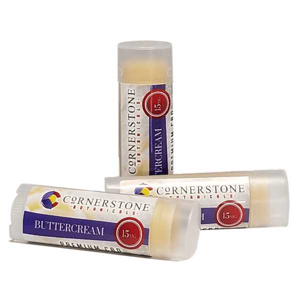 buttercream flavored CBD lip balm from Cornerstone Botanicals