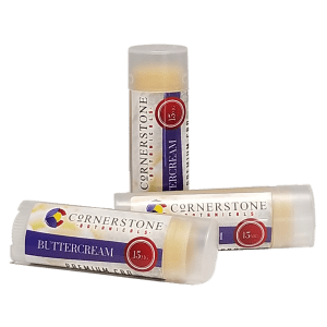 buttercream flavored CBD lip balm from Cornerstone Botanicals