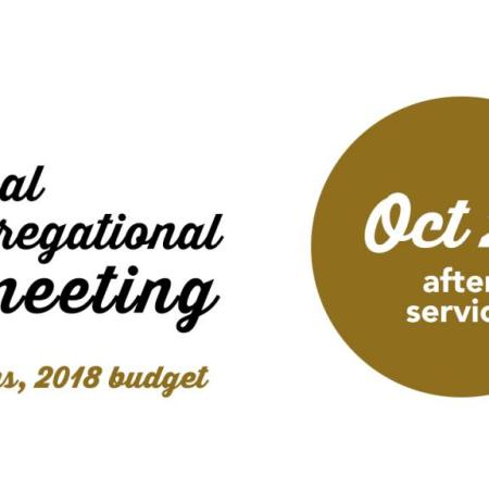 ANNUAL CONGREGATIONAL MEETING, Oct 29