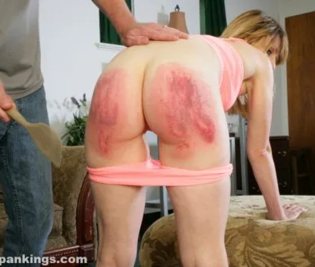 Bare Bottom Wooden Spoon Spanking From Dad For His Daughter