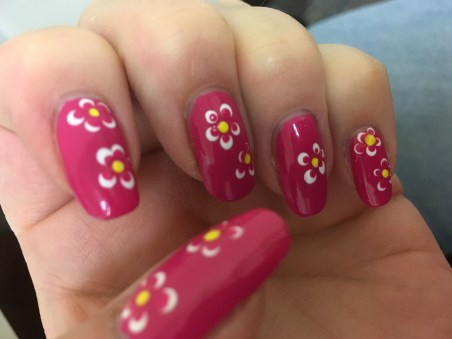 Pink flower mani 7-14-16