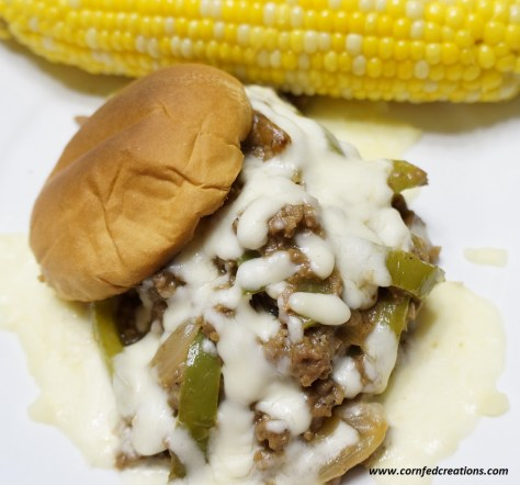 philly cheese style ground beef sandwiches