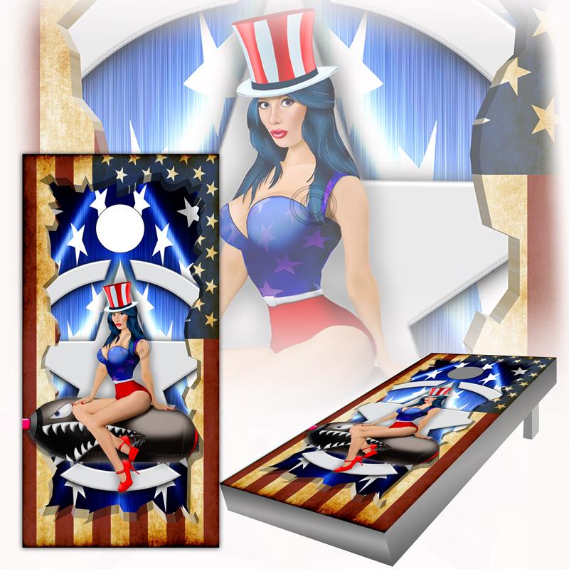 American Flag Pinup Cornhole Board Wraps