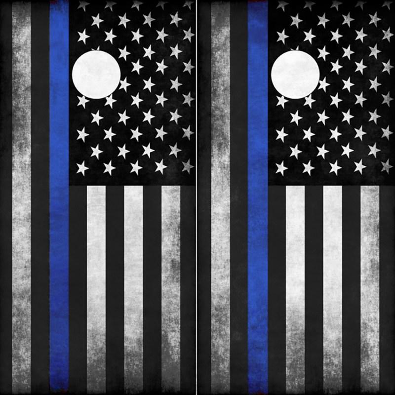 Police Blue Line American Flag Cornhole Board Wrap-Wraps
