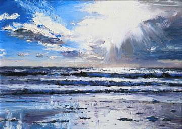 Beach-Reflections---Oil-on-Board--25.5-x-30.5-cm-