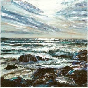 Storm Sky III, Poldhu Cove 400mm x 400mm, oil on canvas,
