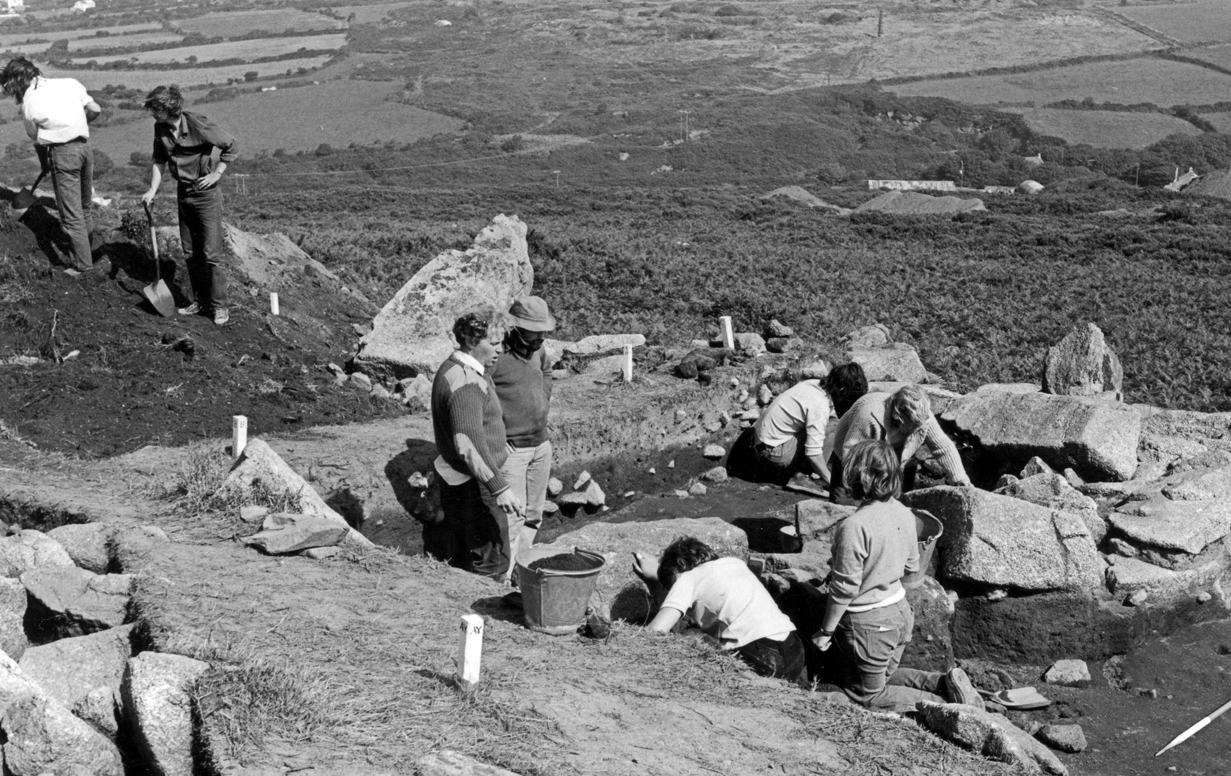 CAS volunteers excavating on Carn Brea with ex-president Roger Mercer