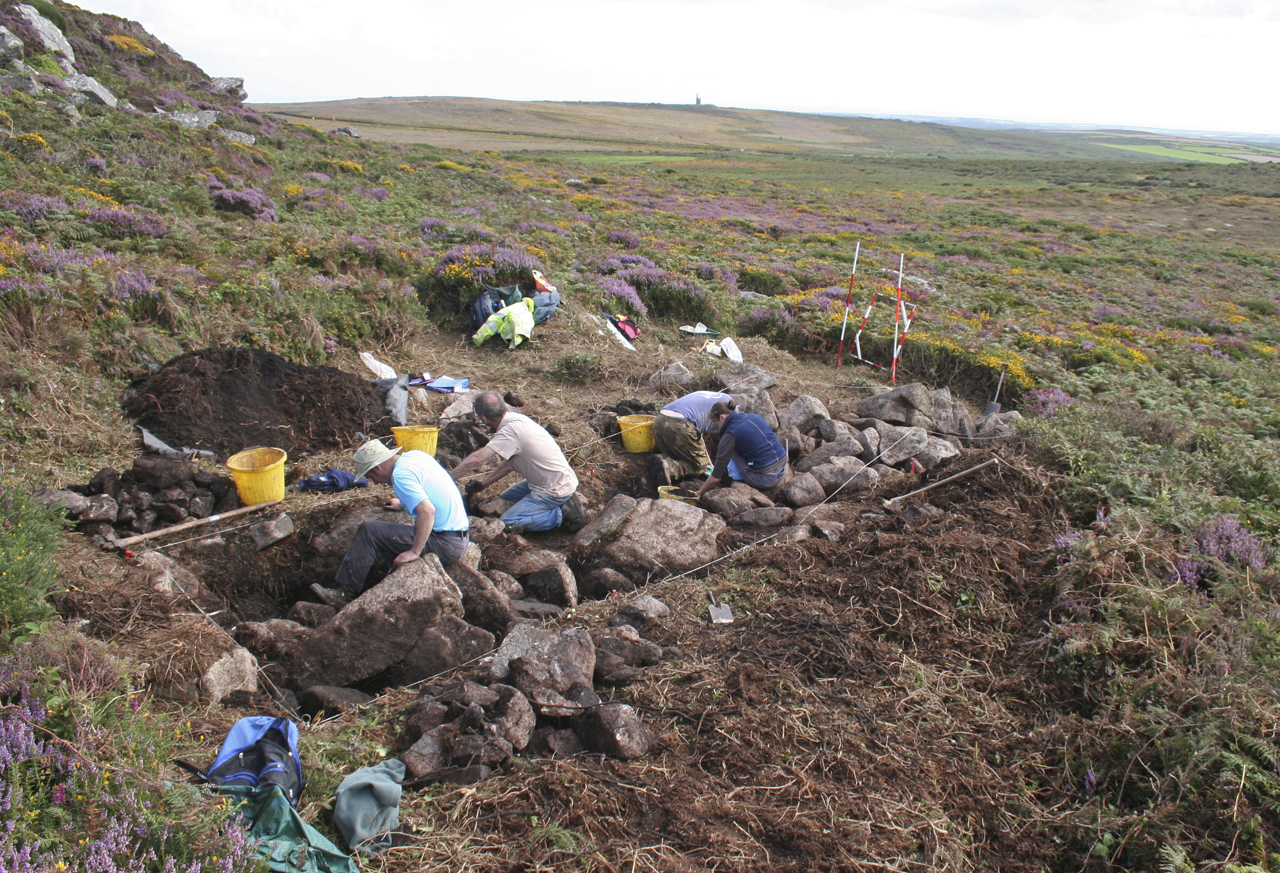 CAS volunteers excavating Trench 1 at Carn Galva