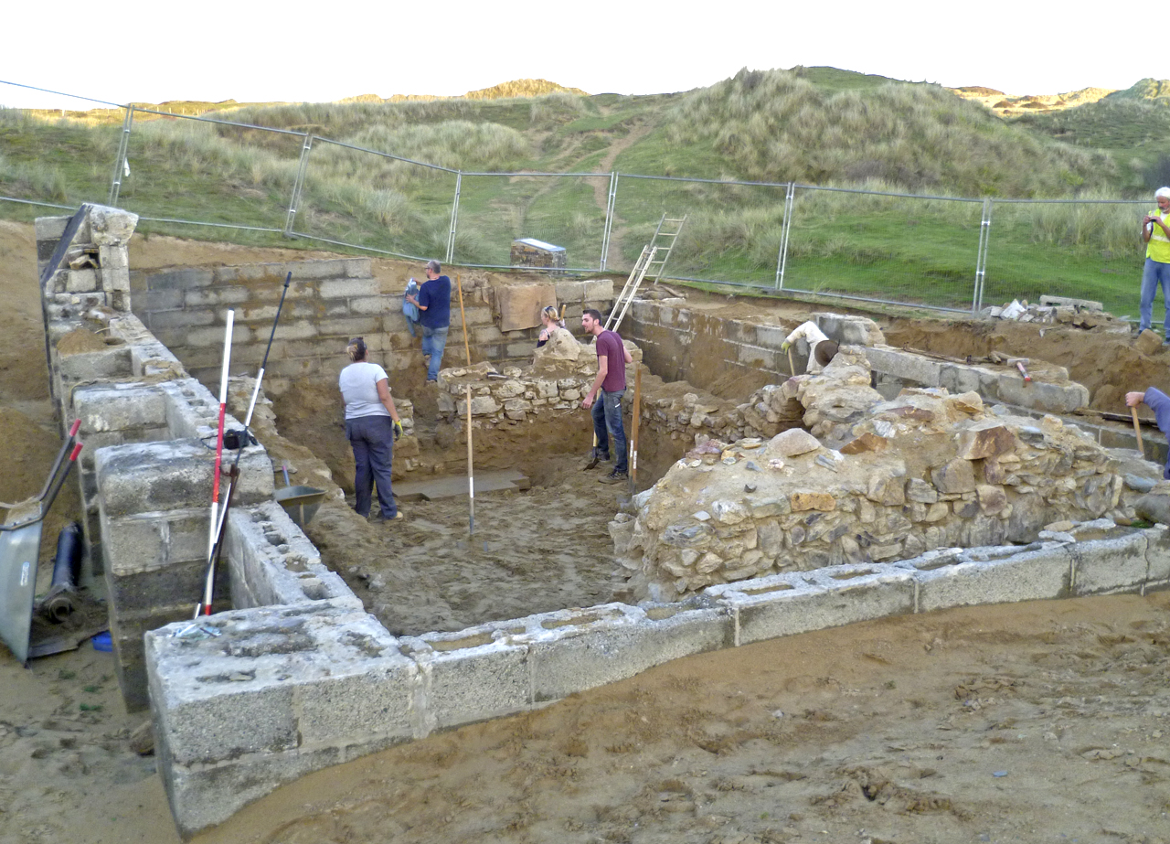 CAS members excavating St Piran's Oratory.