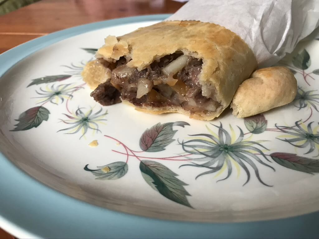 Cornish pasty open