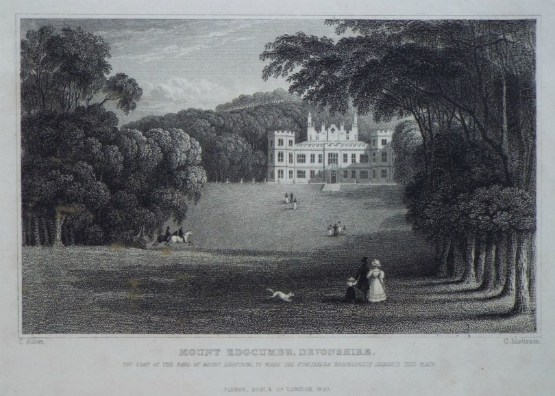 Engraving of Mount Edgcumbe House, 1830