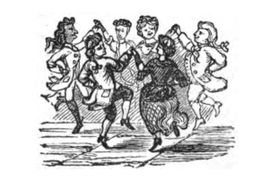Illustration by JT Blight from Bottrell 1873 of a circle of dancers