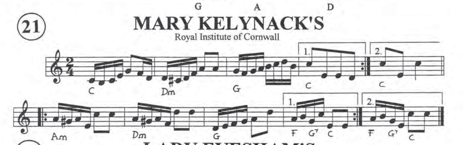 Black and white music in treble clef of Mary Kelynack's polka in C major.