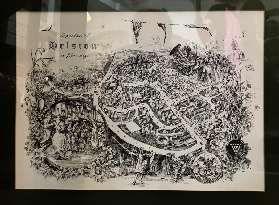 Hand-drawn in black ink map of Helston showing Flora Day routes around town and some of the characters.